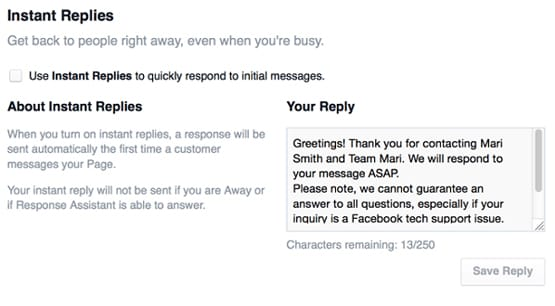 Example Reply on Facebook Messenger