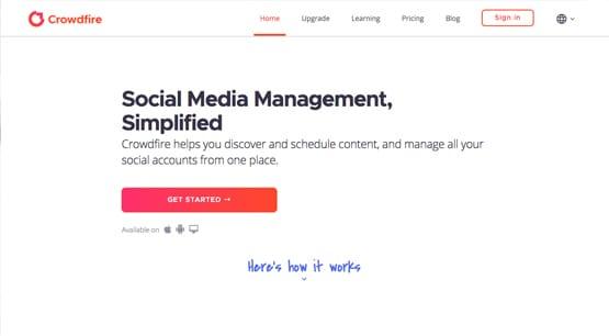 Crowdfire Homepage