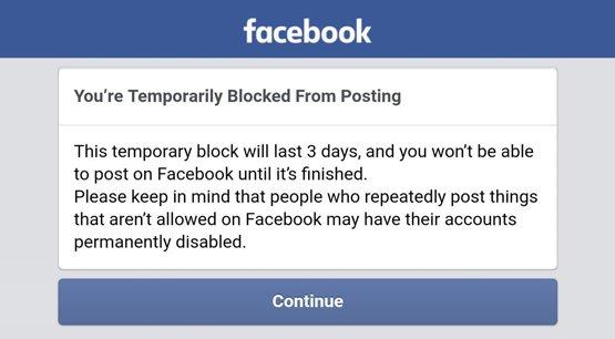 Temporarily Blocked on Facebook