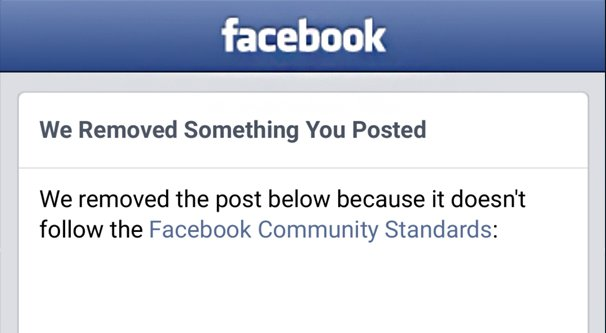 Facebook Post Removed