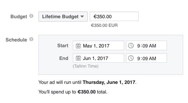 Facebook Ads Schedule Example