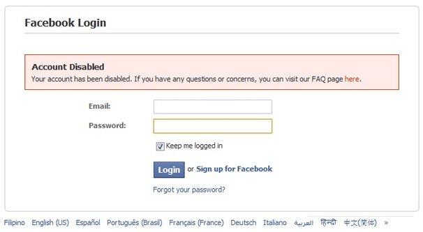 Facebook Page Blocked