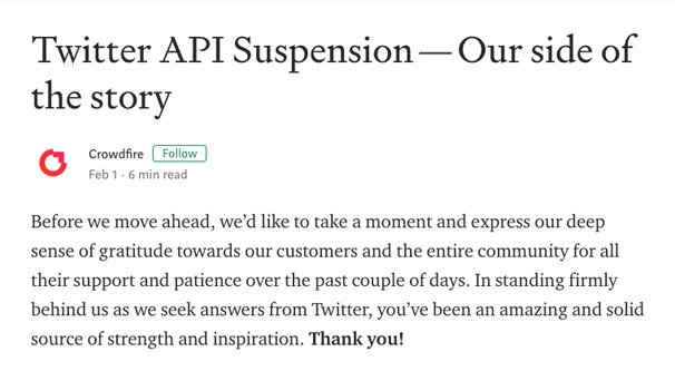 Twitter API Suspension